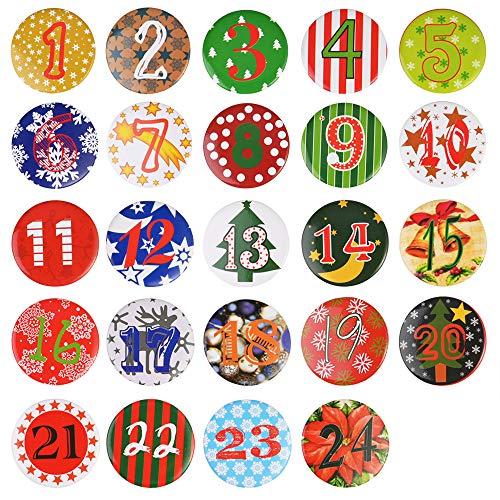 Faburo 24 Adventskalender Zahlen Buttons zum selber Basteln Adventskalender Zahlen Anstecker Weihnachten Zahlen Buttons mit Anstecknadeln