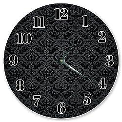 10.5 BLACK DAMASK PATTERN CLOCK - Large 10.5 Wall Clock - Home Décor Clock
