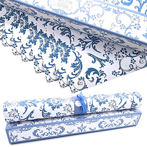 QECOR Essentials Scented Drawer and Shelf Liners - Royal Damask Print - Eight (8) Large 14 x 19½ Inch Sheets - Non-Adhesive Paper Sheets for Closet Shelves and Dresser Drawers (Fresh Linen)