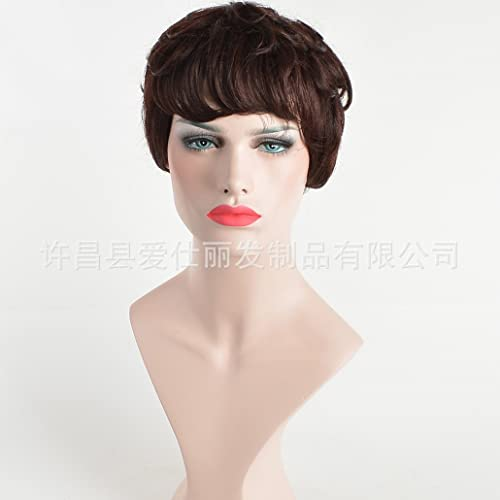 XY-QXZB Live Perücke Europäischenund amerikanischen Frauen Mode kurzen Bobo Kopf alle echten Haar Perücken