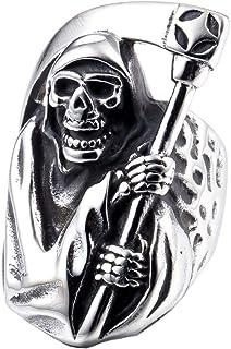 ZMY 2018 Mens Fashion Jewelry 316L Stainless Steel Rings Men, Grim Reaper Skull Ring (15)