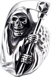 ZMY 2018 Mens Fashion Jewelry 316L Stainless Steel Rings Men, Grim Reaper Skull Ring