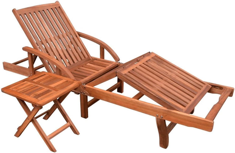 VidaXL Massivholz 2-TLG. Sonnenliege und Tisch Set Relaxliege Akazienholz Braun