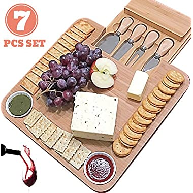 Fancy gifts for Mom, Mothers, Women, Men Housewarming, Wedding, Birthday, Bamboo Cheese Board w/Cutlery Set, Wood Charcuterie Platter & Meat Server, 4 Stainless Steel Knife, 2 Bowl, Slide-Out Drawer