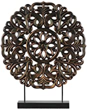 Urban Trends Wood Round Buddhist Wheel Ornament on Rectangular Stand LG Rubbed Finish Bronze