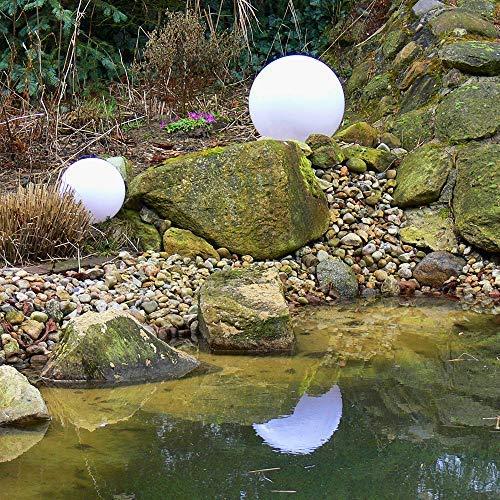 Dapo Außen-Garten-Kugel-Leuchte-Lampe 2er Set (30cm+40cm) Marlon mit Erdspieß, Dekoration-Terrasen-Balkon-Treppe-Leuchte-Lampe
