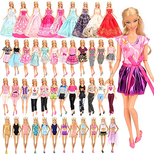 Barwa リカちゃん用服 バービー用ドレス バービー用服 バービー人形用服 手作り 着せ替え 16枚セット=5枚ドレス+5着服+3枚ロングドレス+3枚水着 プレゼント リカちゃん人形適用