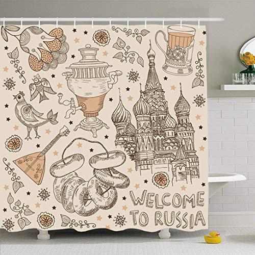 AdaCrazy Moskau begrüßt touristische Einladung Decken altmodischen russischen Wahrzeichen Land Tee Essen Trinken Mikrofaser Bad Duschvorhang modernes Bad Vorhang 71x71 Zoll
