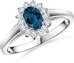 Princess Diana Inspired London Blue Topaz Ring with Halo (6x4mm London Blue Topaz)