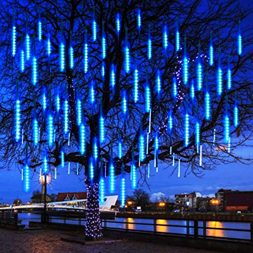 Meteor Shower Christmas Icicle Lights Outdoor, 11.8 Inches 8 Tubes 192 Led Snowfall Lights Connectable, Waterproof Hanging Falling Rain Lights for Tree Bushes Holiday Christmas Decorations, Blue