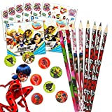 Miraculous Ladybug Party Supplies Bundle for 8 Guests - Miraculous Ladybug Pencils, Sharpeners, and Superhero Girls Stickers (Miraculous Ladybug Party Favors Pack)