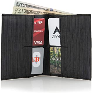 World's Thinnest Nylon Original Wallet (4-24 cards, 2 cash pockets) Thin Vegan Front Pocket Bifold, Made in USA