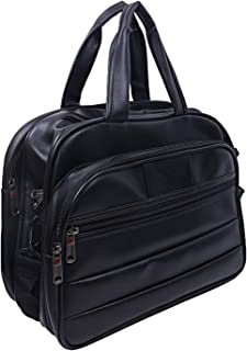 Heart Home Artificial Leather Handmade Men Laptop Bag Cross Over Shoulder Messenger Bag Office Bag, Black - (CTHH022250)
