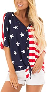 July 4th Women's American Flag Button Down T Shirt with Tie Front