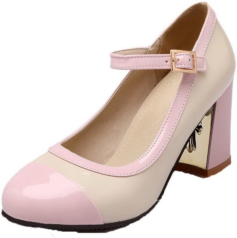 WeenFashion Women's Assorted color PU Kitten-Heels Buckle Pumps-shoes