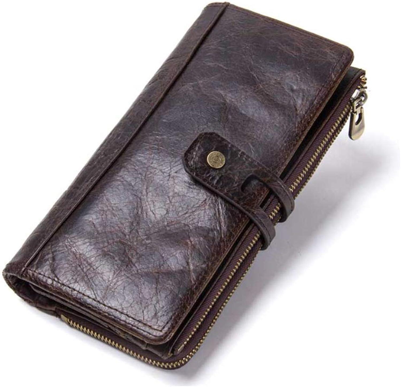 Leather Men's Bag Leather Multi-Function Vintage Men's Wallet Buckle Clutch (color   Brown, Size   S)