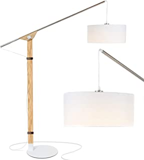 Brightech Eithan LED Floor Lamp – Modern Contemporary Elevated Crane Arc Floor Lamp & Linen Hanging Lamp Shade- Tall, Industrial - Uplight Lamp for Living Room Office or Bedroom Natural Wood