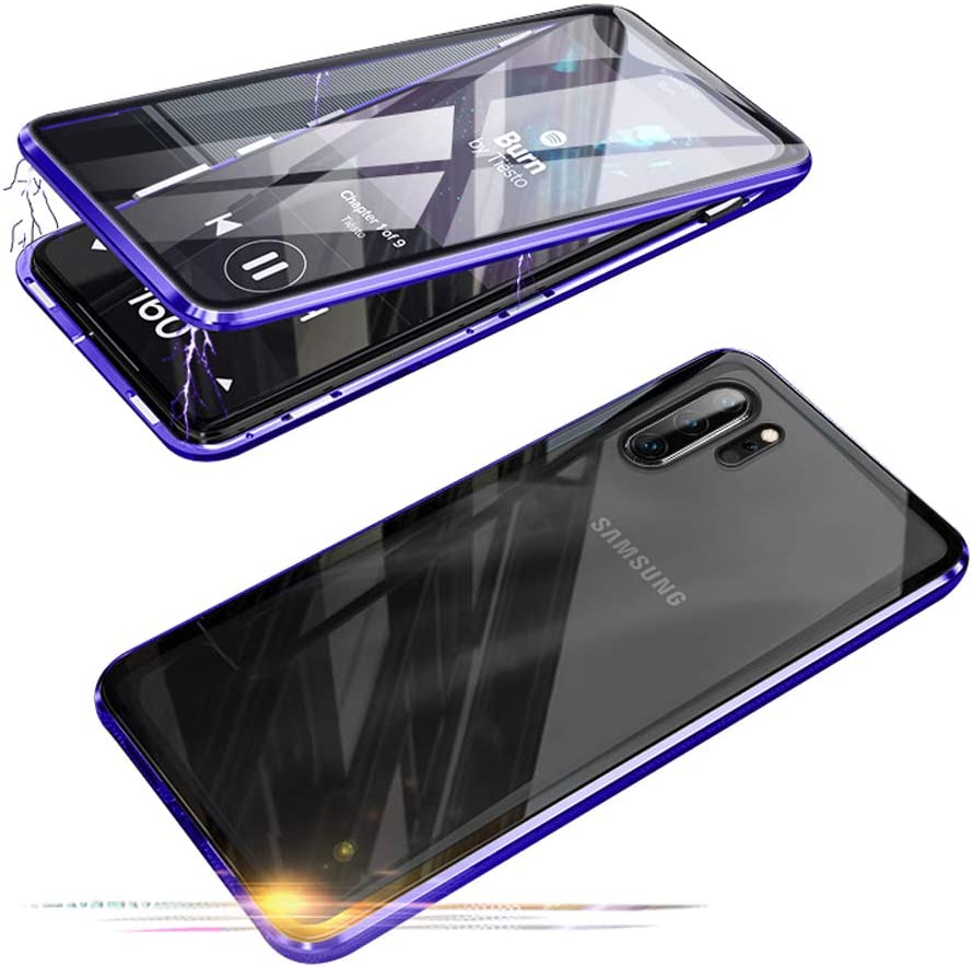 Compatible with Samsun Galaxy Note 10+ 5G (6.8 inch) Case, Jonwelsy 360 Degree Front and Back Transparent Tempered Glass Cover, Strong Magnetic Adsorption Metal Bumper for Note 10 Plus (Blue)