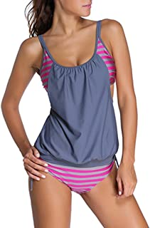 Women Stripes Print Sporty Double Up Layered Two Piece Tankini Sets Swimsuits