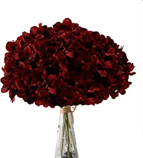 Aviviho Hydrangea Silk Flowers Burgundy Heads Pack of 10 Big Hydrangea Flowers Artificial with Stems for Wedding Home Party Shop Baby Shower Decor
