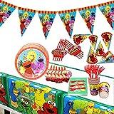 74pcs Plaza Sésamo Party Supplies Decoraciones de Vajilla para Fiestas de Cumpleaños para Niños,Contiene Tazas, Platos, Pajitas, Papel, Cuchillos, Tenedores, Manteles, Jalar Banderas-10 Invitados