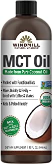 Windmill USDA Certified Organic MCT Oil from Pure Coconut Oil, 32 Ounces