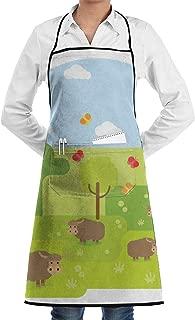 YEPGL Wild Yak Background Bib Aprons Commercial Restaurant and Home Kitchen Apron for Men Women Chef Servers Waiter