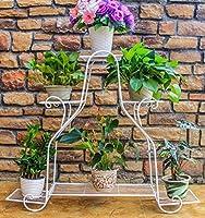 DAQUANTOU 縦の花はアイアンフラワーは、フラワーポットホルダーメタルディスプレイスタンドガーデンスタンド屋内および屋外f7Cpスタンド,白い,69.2 * 59.8センチメートル