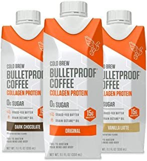 Bulletproof Cold Brew Coffee, Keto Friendly, Sugar Free, with Brain Octane oil and Grass-fed Butter (Variety 12-Pack)