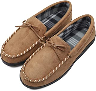 Men's Corduroy Moccasin Slippers Cotton Lined Light Weight Home House Loafers with Anti-Skid Rubber Sole Indoor & Outdoor