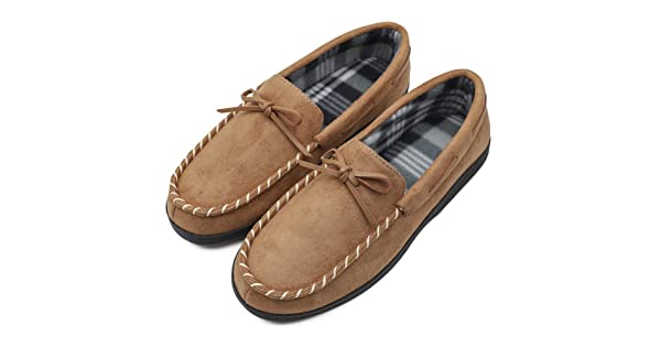 Mens Moccasin Slippers Flannel Lined Light Weight Home House Loafers Flats with Anti-Skid Rubber Sole Indoor /& Outdoor