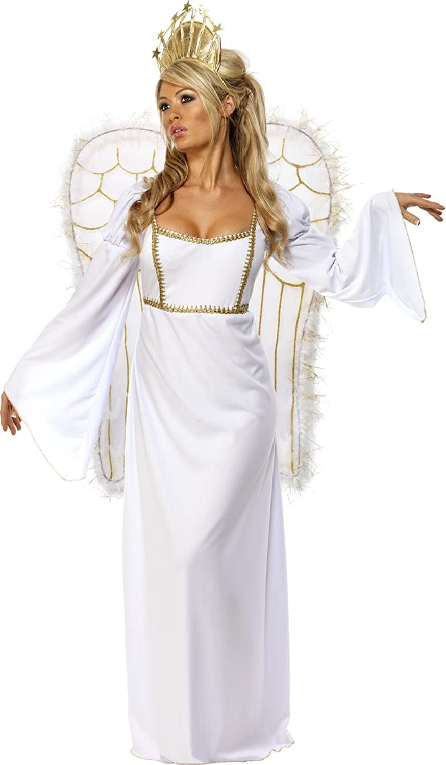 Ladies Full Long Length Christmas Angel Fairy with Crown & Wings Fancy Dress Outfit Costume UK 1218 White