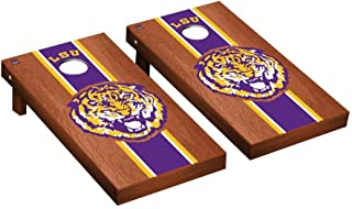 Louisiana State LSU Tigers Cornhole Game Set Rosewood Stained Stripe Version