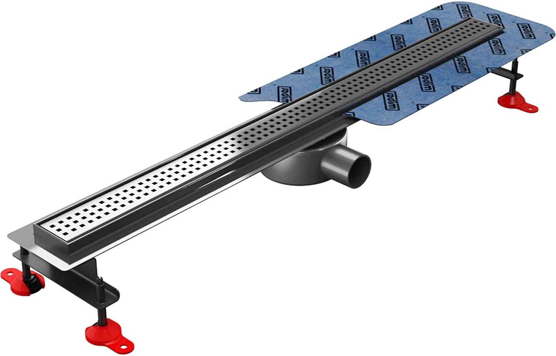 Duschrinne LINE PREMIUM SLIM aus Edelstahl, seidenmatt, Design SIROCCO, flchenbündig, mit Edelstahl-Siphon (Smart Trap) und Zubehr, Lnge  800 mm, 10 Jahre Garantie