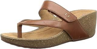 Clarks Women's Temira Palm Dark Tan Lea Fashion Sandals