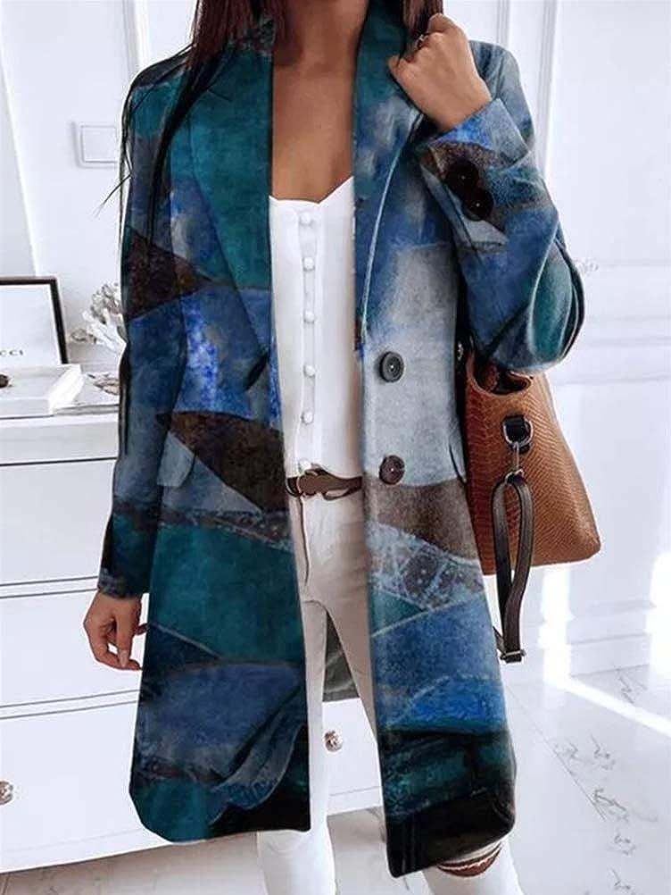 Tomwell Mantel Damen Cardigan Kunstdruck Wollmantel Einfarbig Lang Casual Langarm Strickjacke Outwear Jacken Warm Schlank Vintage Jacken Herbst Winter