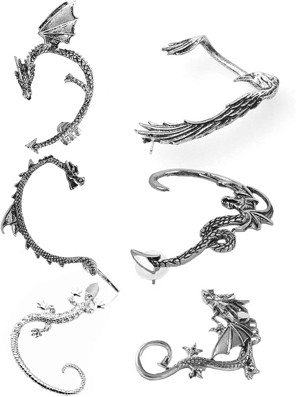 4-6 Pcs Vintage Snake Ear Cuff Earring Set Punk Gothic No Piercing Dragon Bat Crow Ear Climber Retro Stud Wrap On Ear Cartilage Clip Nightclub Jewelry for Women Men