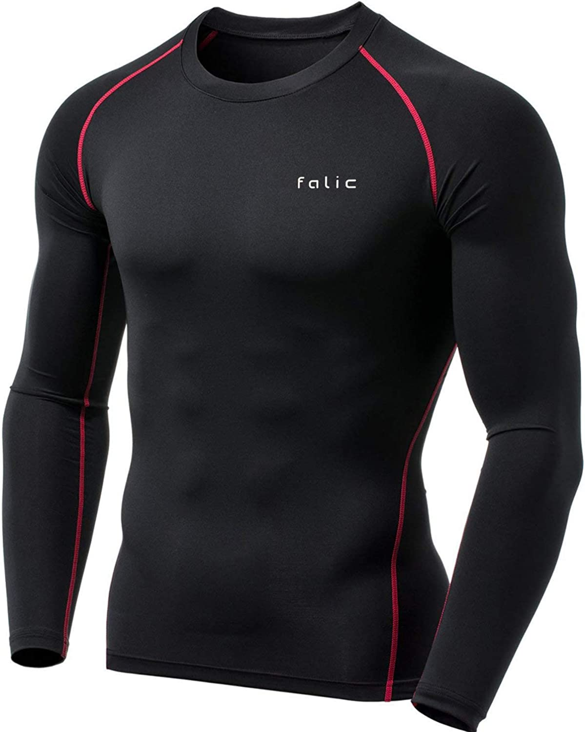 Falic Men's Long Sleeve Compression Shirts with Heat Retention Technology (Black and Red, L)