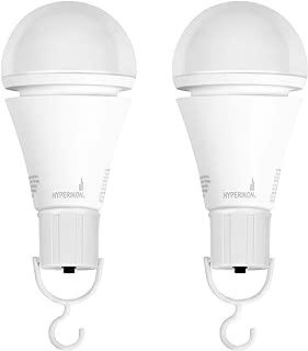 Hyperikon Rechargeable Emergency Bulb, A21 7W E26 Base, Battery Powered LED Bulb, 3000K, 3 Hours Backup Mode, UL, 2 Pack