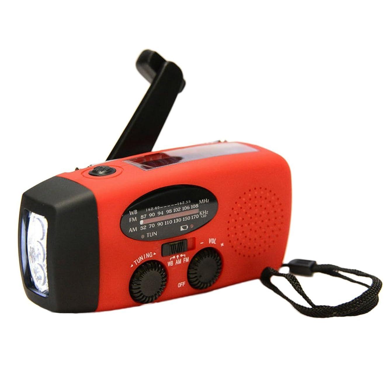 ピン岸突破口Protable緊急ハンドクランクジェネレータAM/FM/WBラジオ懐中電灯充電器防水緊急サバイバルツールHY-88WB - 赤
