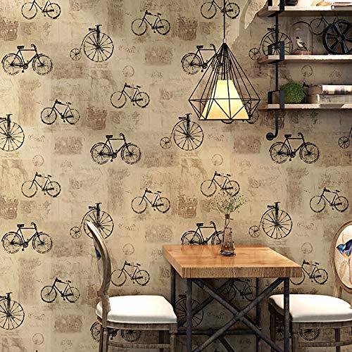 jidan 10m Lange Weinlesetapete Fahrrad Alphabet Entwurfsmuster Bekleidungsgeschäft Café-Restaurant Industrie loftstil PVC-Tapeten (Dimensions : 5.3 Square Meter)