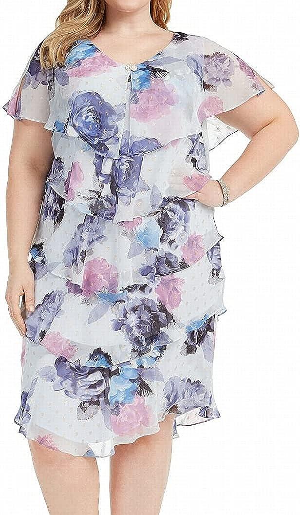S.L. Fashions Women's Plus Size Short Sleeve Floral Print Pebble Tier Dress