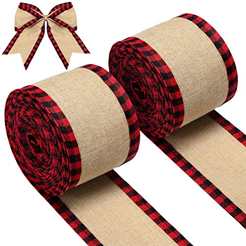 2 Rolls Christmas Buffalo Plaid Wired Edge Ribbons Burlap Fabric Craft Ribbon Natural Wrapping Ribbon Rolls with Checkered Edge for DIY Craft Bows Christmas Decoration (Red and Black Plaid Edge)
