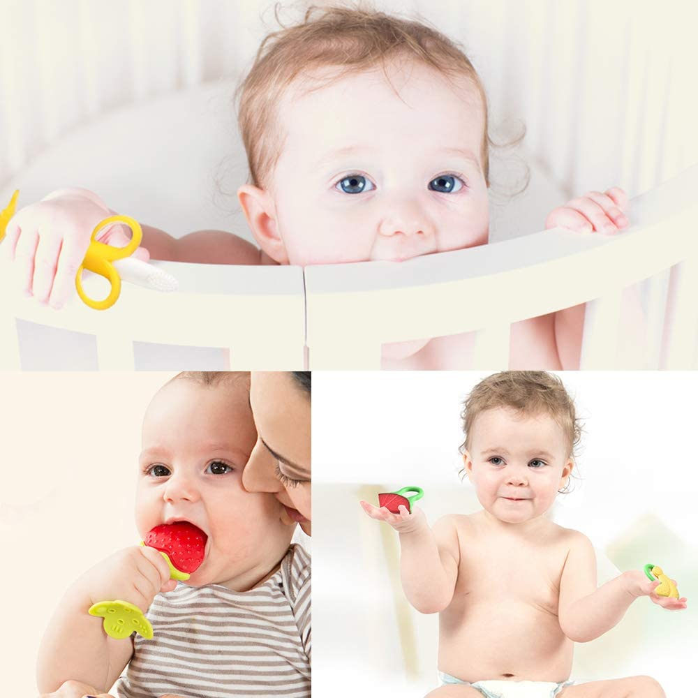 3 in Pack SILIVO Silicone Infant Teething Toys and Training Finger Toothbrushes with Storage Case Baby Toothbrush and Banana Teether 1 Teether+ 2 Finger Toothbrushes