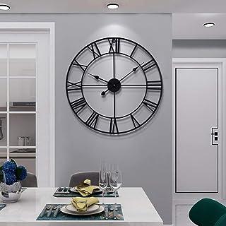 Grande horloge murale en métal silencieuse fonctionnant à piles - Style vintage à chiffres romains - Décoration de salon, ...