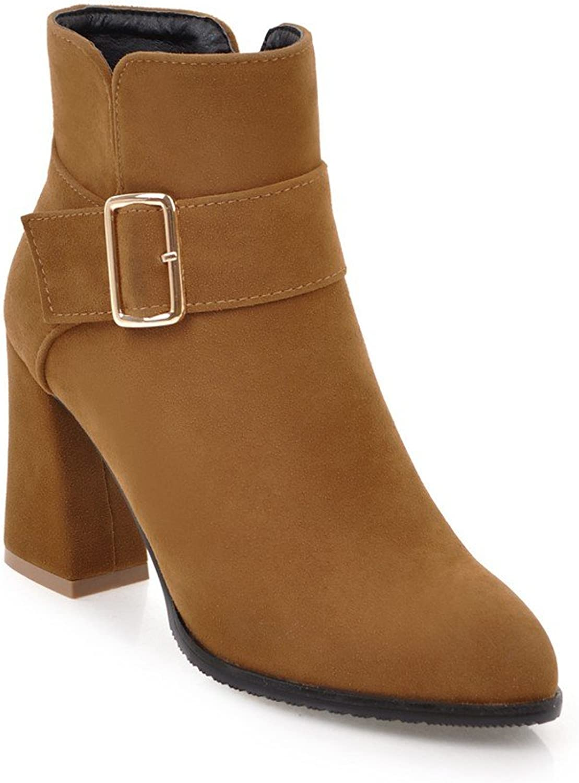Ladola Womens Pointed-Toe Solid Metal Buckles Zip High-Heel Suede Boots