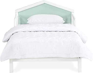 Novogratz Albie A-Frame Toddler Reversible Headboard, White, Mint Green Bed with Head Board