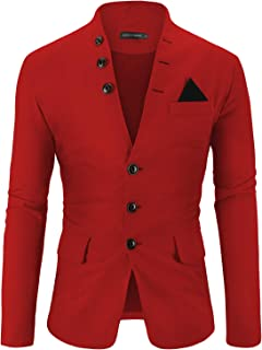 Mens Casual Slim Fit Standing Collar Blazer 3 Button Suit Sport Jackets