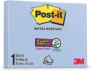 Bloco de Notas Super Adesivas Post-It Reciclado Azul 76 x 102 mm - 90 folhas, HB004310015