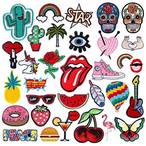 Patch 31PCS Assorted Styles Embroidered Sew On/Iron On Patches Applique Clothes Dress Plant Hat Jeans Sewing Flowers Applique DIY Accessory (RF-98)
